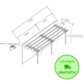Pergola STANDARD addossata 500x200 legno classe 3 - portata 90 Kg - ANCHE SU MISURA