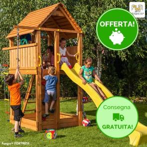 Torre Parco Giochi con Casetta e Scivolo Fungoo FORTRESS in legno - 460 x 200 x h 310 cm