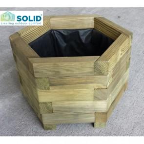 Fioriera in legno BAC ESAGONALE 55 x 55 cm con rivestimento e maniglie