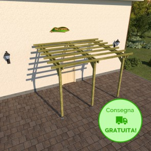 Pergola STANDARD addossata 4 x 3 legno classe 3 - portata 90 Kg - ANCHE SU MISURA
