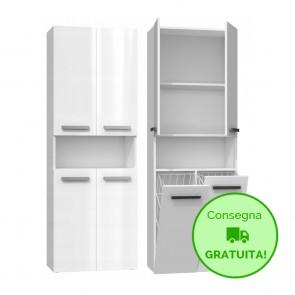 Mobile lavanderia componibile PIERO con 2 Cestelli per biancheria - 60 x 30 x 174h cm - Bianco laccato