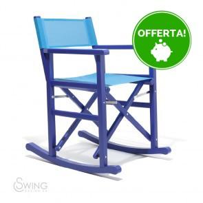 Sedia a Dondolo in Legno laccato - Montezuma Blu e Azzurro
