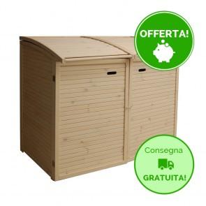Porta bidoni per esterno DOPPIO 156 x 97 x 132 h. cm in legno SBIANCATO - RACCOLTA DIFFERENZIATA
