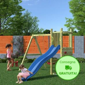 Parco giochi in legno di pino Fungoo FUNNY 3 con Altalena doppia - 284 × 345 × 210 cm