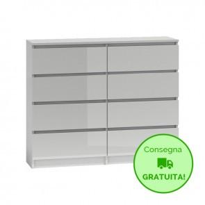 Settimino per camera da letto MALWA LARGE - 120 x 40 x 97h cm - Bianco laccato - 8 cassetti