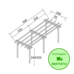 Pergola STANDARD autoportante 5 x 2 legno classe 3 - portata 90 Kg - ANCHE SU MISURA