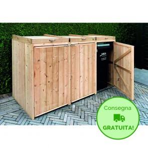 Portabidoni 3 posti in legno per esterno impregnato 196 x 80 x 117h. cm