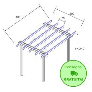 Pergola  BASIC autoportante 4 x 3 legno classe 3 - portata 50 Kg - ANCHE SU MISURA