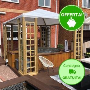 Gazebo ONLY legno autoclavato 300 x 300 cm -Telo PVC + 8 grigliati