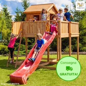 Parco giochi con casetta e scivolo Fungoo MY SPACE XL in legno Abete 477 x 251 x h 305 cm