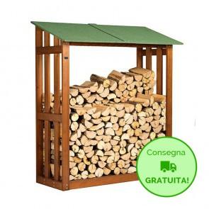 Legnaia in legno trattato per esterno 180 x 70 x 180 cm