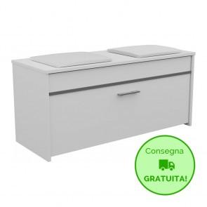 Scarpiera con seduta da ingresso ROMA - 100 x 38 x 46h cm - Laminato Bianco