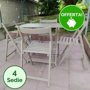 Set tavolo e sedie da giardino in legno di faggio color Tortora - 4 sedie