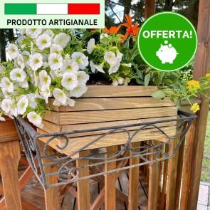 Onlywood Fioriera MARGHERITA in Legno verniciate Noce Made in italy - 3 Dimensioni