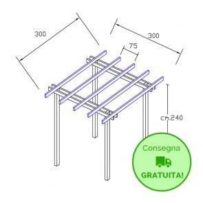 Onlywood Pergola BASIC autoportante 3 x 3 legno classe 3 - portata 50 Kg - ANCHE SU MISURA