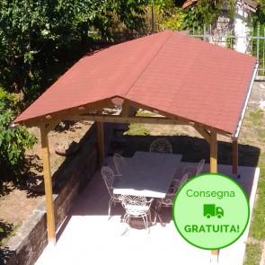 Onlywood Gazebo TIP 3 x 4 tetto in legno antivento - impregnato - personalizzabile