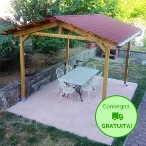 Onlywood Gazebo TIP 4 x 3 tetto in legno antivento - impregnato - personalizzabile