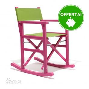 Sedia a Dondolo in Legno laccato - Puerto Vejo Rosa e Verde