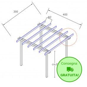 Onlywood Pergola  BASIC autoportante 3 x 4 legno classe 3 - portata 50 Kg - ANCHE SU MISURA