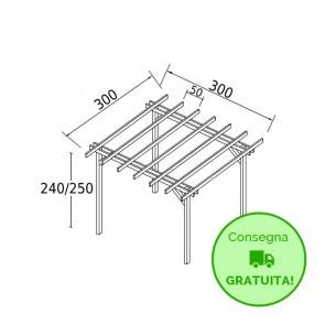 Pergola STANDARD autoportante 3 x 3 legno classe 3 - portata 90 Kg - ANCHE SU MISURA