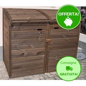 Porta bidoni per esterno DOPPIO 156 x 97 x 132 h. cm in legno verniciato BRONZO - RACCOLTA DIFFERENZIATA