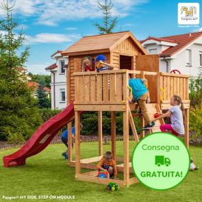 Parco giochi con Casetta e Scivolo Fungoo MY SIDE in legno di Abete 390 x 253 x h 305 cm