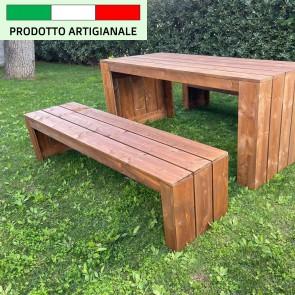 Onlywood Panca in legno da esterno MADRID - legno di Abete Massello Noce chiaro 180 x 44 x 43 h cm