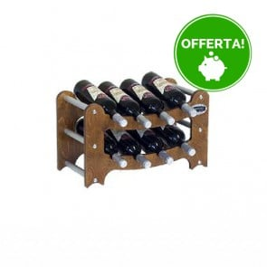 """Cantinetta in legno noce in kit """"Gradino"""" - componibile - 8 bottiglie"""