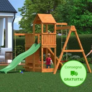 Parco giochi Fungoo Floppi in legno pino 379 x 396 x h 277 cm con altalene e scivolo