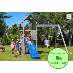 Parco Giochi in legno Fungoo CAROL 2 Grigio - 391 x 285 x 282h cm