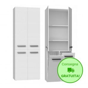 Mobile lavanderia componibile MARIO con 2 Cestelli per biancheria - 60 x 30 x 174h cm - Bianco