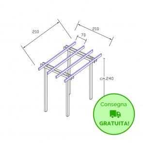 Pergola  BASIC autoportante 210x210 legno classe 3 - portata 50 Kg - ANCHE SU MISURA