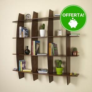 Libreria componibile in legno ARCO - 150 x 30 x 150h cm - finitura Noce
