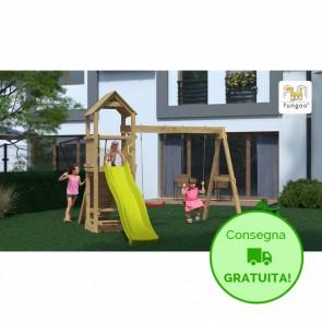 Parco Giochi in legno di pino Fungoo Flatti - 388 x 303 x 273h cm