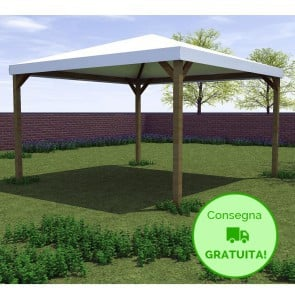 Gazebo CLASSICO legno autoclavato 364 x 364 cm -Con Telo PVC