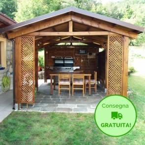 Onlywood Gazebo TIP 4 x 5 tetto in legno antivento - impregnato - personalizzabile