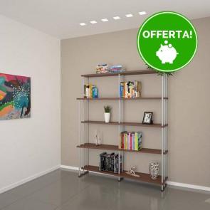 Libreria componibile in legno SMILE - 150 x 35/22 x 190h cm - finitura Noce