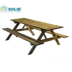 Tavolo da PICNIC in legno impregnato 200 x 139 cm sp.28 con foro per Ombrellone