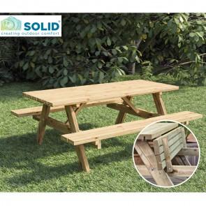 Tavolo da PICNIC in legno impregnato 200 x 155 cm sp.4 cm - Panche Pieghevoli