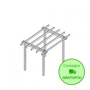 Pergola  BASIC autoportante 210x300 legno classe 4 - portata 50 Kg - ANCHE SU MISURA