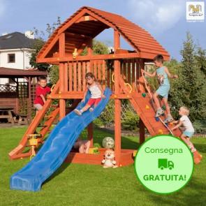 Torre Parco Giochi Fungoo GIANT in legno di Abete 385 x 373 x h 313 cm con scivolo e e parete per arrampicata