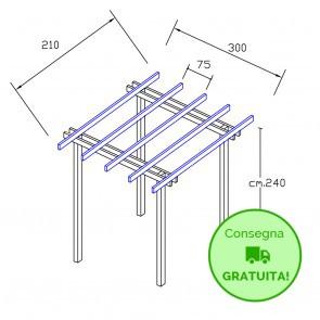 Onlywood Pergola  BASIC autoportante 2,1 x 3 legno classe 3 - portata 50 Kg - ANCHE SU MISURA