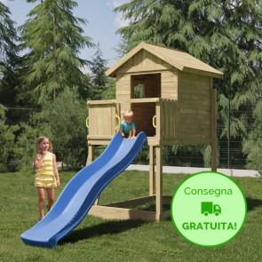 Parco Giochi in legno di pino Fungoo GALAXY S - 179 x 382 x 280h cm