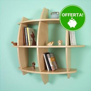Libreria componibile in legno PEPE -  75 x 30 x 75h cm - finitura Acero