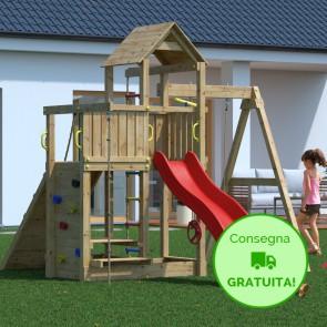 Parco Giochi in legno di pino Fungoo Activer - 396 x 285 x 272h cm