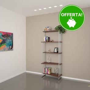 Libreria componibile in legno IRIS - 75 x 35/22 x 190h cm - finitura Noce
