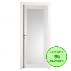 Porta Vetro a Battente Reversibile EASY Melaminico Bianco Graffiato h. 210 cm - 2 Dimensioni
