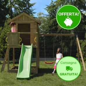 Parco Giochi in legno di pino Fungoo GALAXY S con Altalena doppia - 400 x 489 x 280h cm