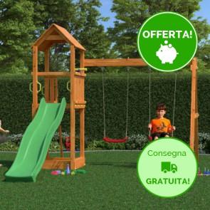 Parco Giochi Fungoo Flappi in legno 370 x 303 x h 272 cm con Altalene e scivolo