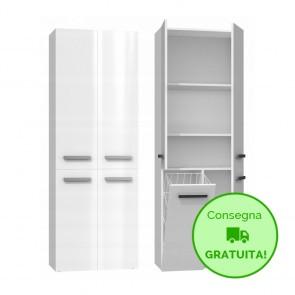 Mobile lavanderia componibile MARIO con 1 Cestello per biancheria - 60 x 30 x 174h cm - Bianco laccato